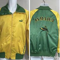 Mens Puma Jamaica  Hummingbird Satin Full Zip Jacket Coat Rare Small Gold Photo