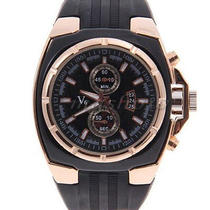 Men's Quartz Analog Stainless Steel Rose Gold Dial Silicone Strap Wrist Watch Photo