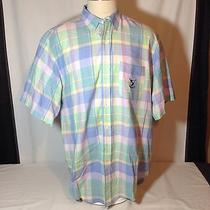 Men's Ralph Lauren Xl Shirt Madras Plaid Pastel Shield Golf Clubs Oxford Cotton Photo