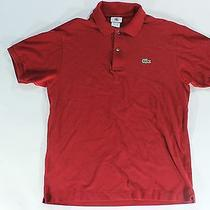 Men's Red Lacoste Polo Shirt - Fits Like Medium Very Good Condition Photo