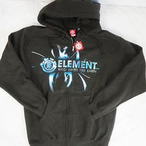 Men's S  Element  Brown/logo/print Cotton Blend Fleece Hoodie Nwt Photo