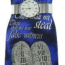 Men's Silver Stretch Band Watch Set & Steven Harris 10 Commandments Tie Set Photo