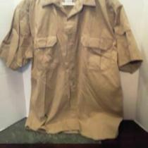 Men's Size M Cotton Khaki Cargo Button Down Shirt by Mountain Express Paxh3 Photo