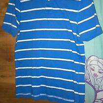 Men's Small Blue & White Striped Short Sleeved Polo Shirt by Express Photo