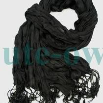 Men's Solid Black Vogue Fancy Design Cotton Silk Scarf Photo