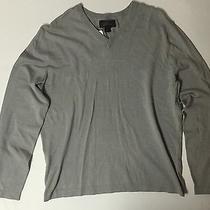 Men's Solid Grey Medium Size ( M ) Express Casual v-Neck Long Sleeve Shirt New Photo