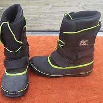 Men's Sorel Green Black Leather Suede Winter Snow Boots Insulated 11 Waterproof  Photo
