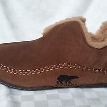 Men's Sorel Manawan Sz 11 Insulated Suede Leather Slippers Euc Photo