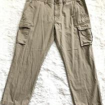 Men's St. John's Bay Beige Flat Front 6 Pocket Cotton Cargo Pants - 40 X 29.5 Photo