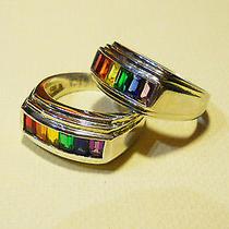 Men's Sterling Silver Gay Pride Rainbow Ring Swarovski Cystals Sz11 Last One  Photo