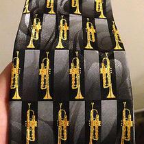Men's Steven Harris Hand Made Necktie Neck Tie Musical Instrument Trumpets Photo
