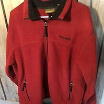 Men's Timberland Red Fleece Jacket Full Zip Up Pockets Size Large L Euc Photo