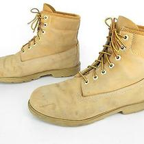 Men's Timberland Tan Leather 7 Eye Lace Up Soft Toe Work Boots Us Sz 11 Photo