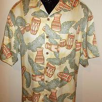 Men's Tommy Bahama 100% Silk Short Sleeve Camp Shirt-Size M (Bongo Drums)- Photo