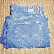 Men's Tommy Hilfiger Jeans Size 38 X 32 Euc Primo Shape Designer Jeans Dark Blue Photo