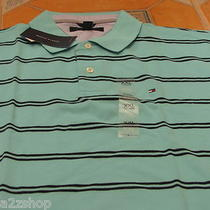 Men's Tommy Hilfiger Polo Shirt Stripe 7825572 Knit Logo Aqua Water 477 Small S Photo