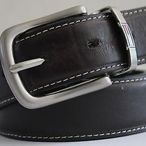 Men's Tommy Hilfiger Reversible Black/brown Sz 32 Leather Belt W/ Silver Buckle Photo