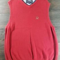 Men's Tommy Hilfiger v Neck Sweater Vest Sizelarge Red Fall Winter Vintage Men Photo