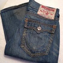 Men's True Religion Billy Big T Size Row 34 X Seat 33 (34x33) Denim Blue Jeans Photo