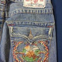 Men's True Religion Brand Blue Joey Jeans Hawaiian Volcano Designrow 34 Seat 32 Photo