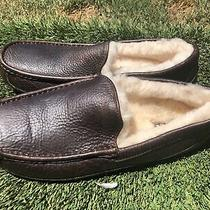 Mens Ugg Ascot Brown Leather Shearling Lining Slippers Sz 10 Photo
