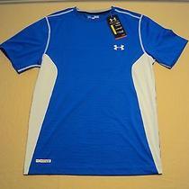 Men's Under Armour Fitted Heat Gear Blue Short Sleeve Medium Photo