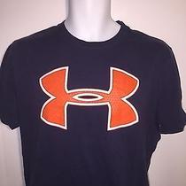 Men's Under Armour Large Orange Logo Loose Fit Heat Gear Cotton Blue Shirt M Photo