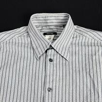 Men's Versace Classic Shirt White Grey Striped Cotton Shirt Size - 40/15 / L Photo