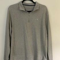 Men's Vineyard Vines 1/4 Zip Pullover Sweater - Grey - Size M Photo