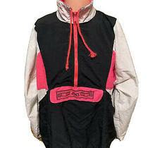 Mens Vintage Asics Black/white/pink Windbreaker Pullover Jacket Size Large Photo