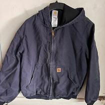 Mens Vintage Carhartt Navy Denim Full Zip Hooded Jacket Blue Size Xl Distressed Photo