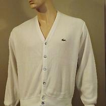 Men's Vintage Izod Lacoste Cardigan White Sweater 100% Orlon Acrylic Sizem  Usa Photo