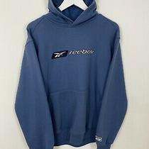 Men's Vintage Reebok Spell Out Pullover Hoodie Sweatshirt Top Blue Uk M Medium Photo