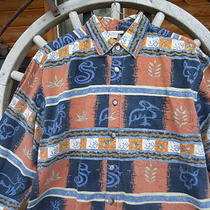 Men's Vintage Xl Territory Ahead Southwest Petroglyph Cave Fossil Print Shirt  Photo