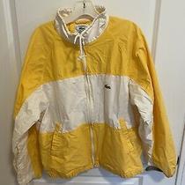 Mens Vintage Yellow/white Izod Lacoste Zip Up Jacket Size Large Photo