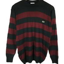 Men's Vtg Lacoste Jumper Black Red Casual Pullover Size - S Photo