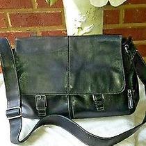 Men's Women Fossil Laptop Bag  Crossbody Flap Leather Black Raretravel Photo