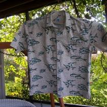 Men's Xl Hook & Tackle Cotton Blend Cream/aqua Sports Fishing Tropical Shirt Photo