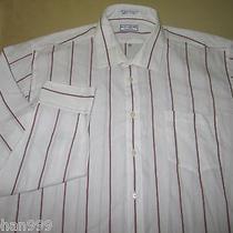 Men's Yves Saint Laurent Ysl Long Sleeve  Dress  Shirt 16.5 34-35 - White Stripe Photo
