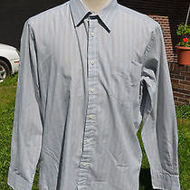 Men's Yves Saint Laurent Ysl Striped Dress Shirt Gray 17 34-35 W5 Photo