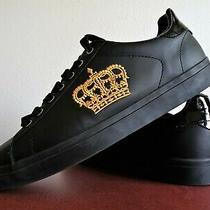 Men's Zara Black / Gold Royal Crown Lo Cut Sneakers - Size 9.5 - New W/out Box Photo