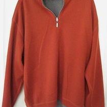 Men Tommy Bahama Reversible Sweater Zip Orange Gray Pullover Jumper Mint 2xl Photo