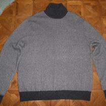 Mens 100% Cashmere Birds Eye Gray Turtleneck Sweater Xl Photo