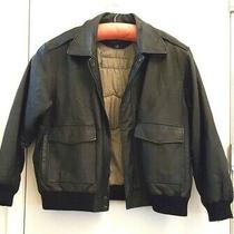 Mens 2xl Black Leather Biker Bomber Jacket W Patches Lined Knit Cuffs and Hem Photo