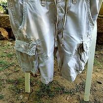 Mens 30 Abercrombie & Fitch Distressed Express Khaki Cargo Shorts Ae Euc h&m Photo