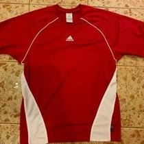 Mens Adidas Active Shirt S Climalite Excellent Cond Red/white Photo