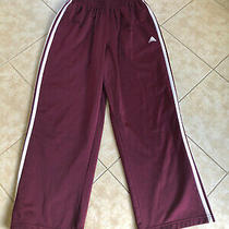 Mens Adidas Athletic Pants  Size M  Maroon and White  Excellent  Look  Photo
