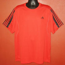 Mens Adidas Climalite Xl X Large Red Black Short Sleeve Golf Gym Athletic Shirt Photo