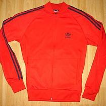 Mens Adidas Originals Red With Navy Stripes Tracksuit Top  Small  Photo