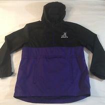 Mens Adidas Pullover Windbreaker Jacket Size Adult Large Purple Black Hooded Photo